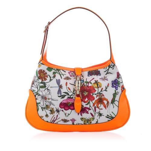 Gucci Flora New Jackie Canvas Shoulder Bag
