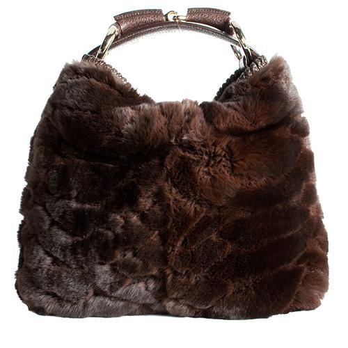 Gucci Fur Horsebit Hobo Handbag