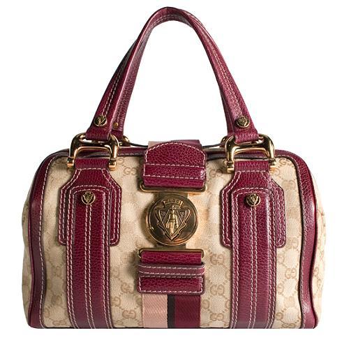 Gucci GG Canvas Aviatrix Medium Boston Satchel Handbag