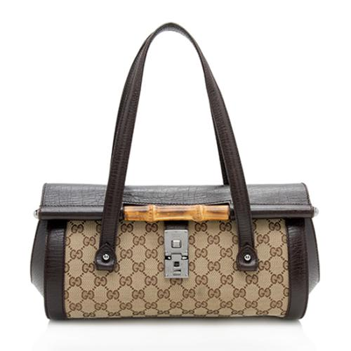 Gucci GG Canvas Bamboo Bullet Medium Satchel