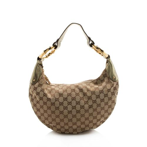 Gucci GG Canvas Bamboo Ring Hobo