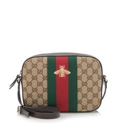 Gucci GG Canvas Bee Web Shoulder Bag