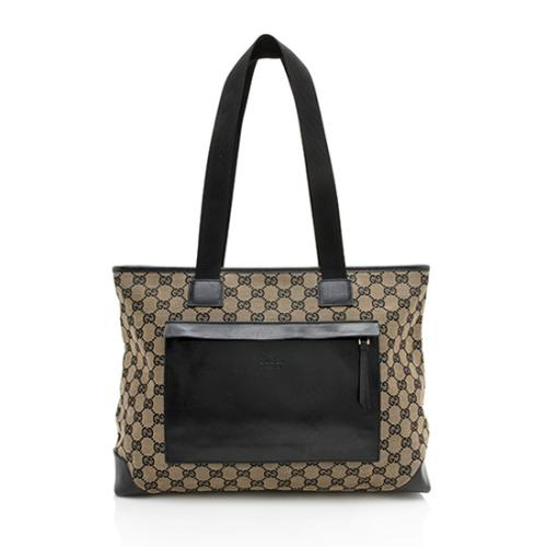 7bf8df5792f8 Gucci GG Canvas E/W Front Pocket Shopping Tote
