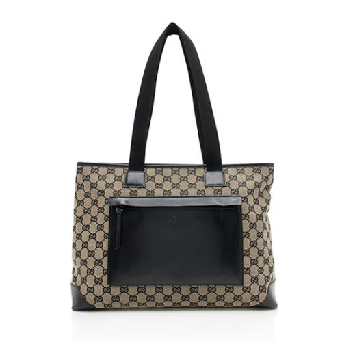 Gucci GG Canvas East West Front Pocket Shopping Tote