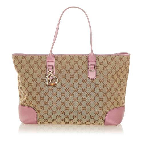 Gucci GG Canvas Heart Bit Tote Bag