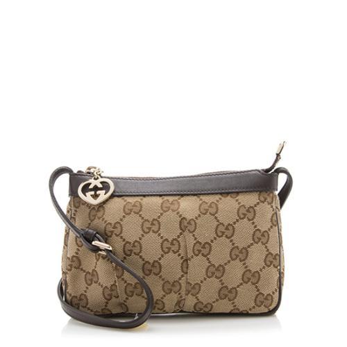 Gucci GG Canvas Heart Charm Crossbody Bag