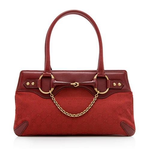 Gucci GG Canvas Horsebit Chain Shoulder Bag