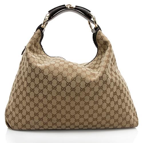 Gucci GG Canvas Horsebit Large Hobo