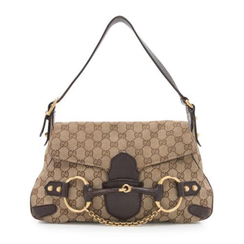 Gucci GG Canvas Horsebit Shoulder Bag - FINAL SALE