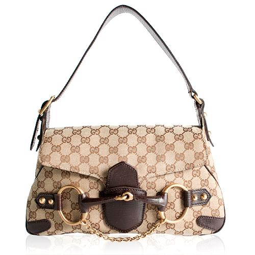 Gucci GG Canvas Horsebit Shoulder Handbag