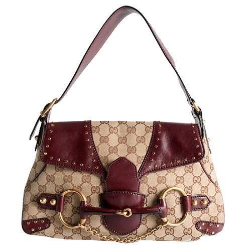 Gucci GG Canvas Horsebit Studded Flap Shoulder Handbag
