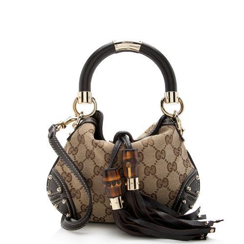 Gucci GG Canvas Indy Mini Top Handle Bag