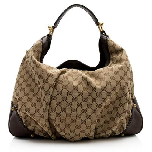 Gucci GG Canvas Jockey Large Hobo