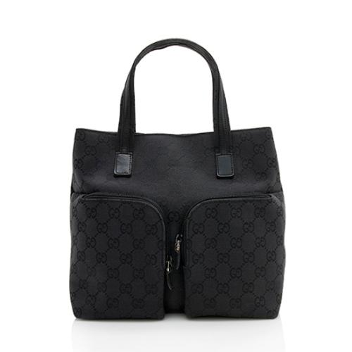 Gucci GG Canvas Leather Double Pocket Small Tote