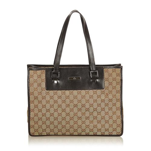 724dea2cd34a Gucci GG Canvas Leather E W Shopping Tote