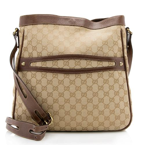 Gucci GG Canvas Leather Messenger Bag