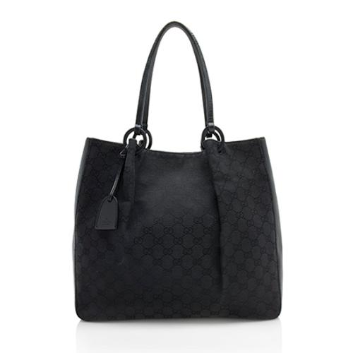 Gucci GG Canvas Leather Ring Large Tote