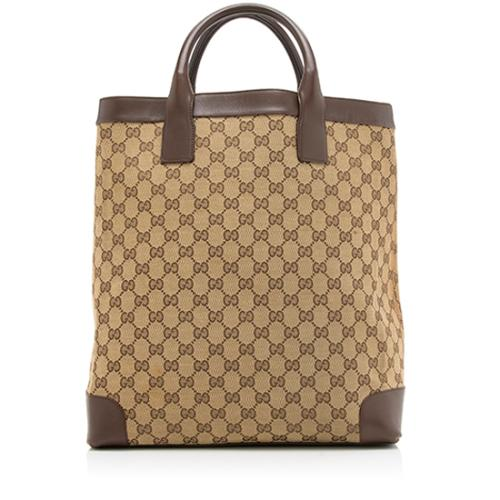 Gucci GG Canvas Leather Tall Tote