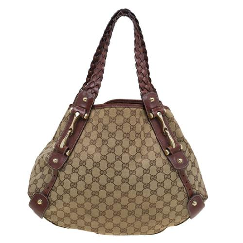 Gucci GG Canvas Medium Horsebit Pelham Shoulder Bag