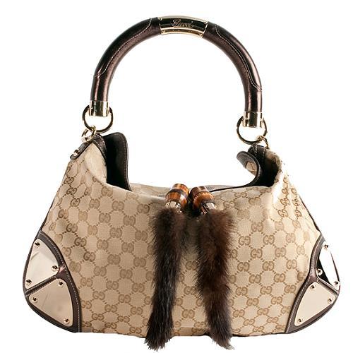 Gucci Gg Canvas Mink Fur Indy Top Handle Satchel Handbag