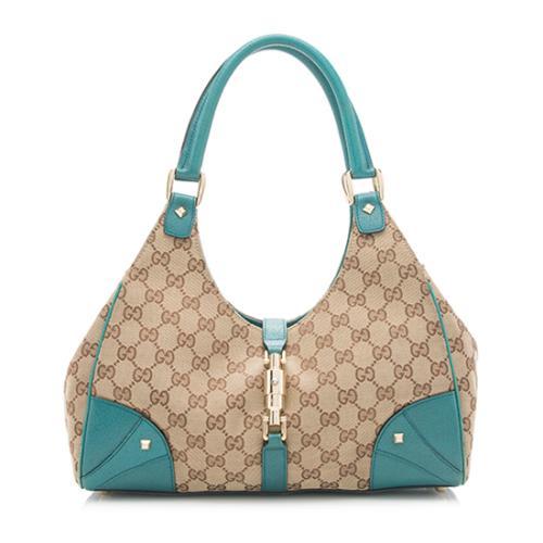 Gucci GG Canvas Nailhead Medium Bardot Shoulder Bag