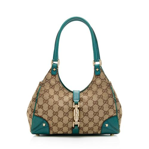Gucci GG Canvas Nailhead Small Bardot Shoulder Bag