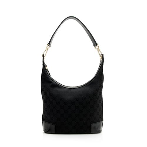 Gucci GG Canvas Patent Leather Hobo