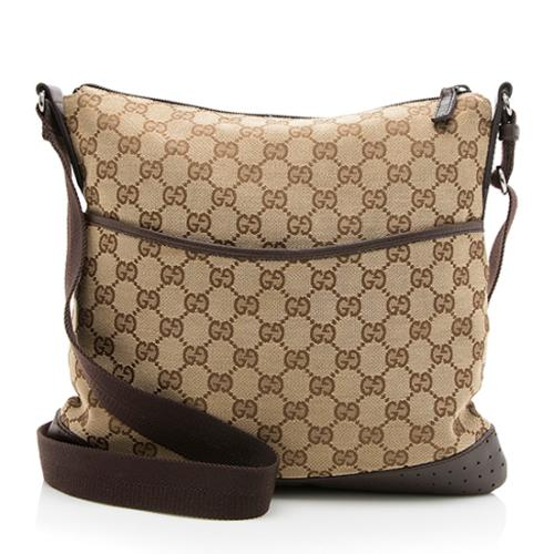 Gucci GG Canvas Perforated Leather Messenger Bag