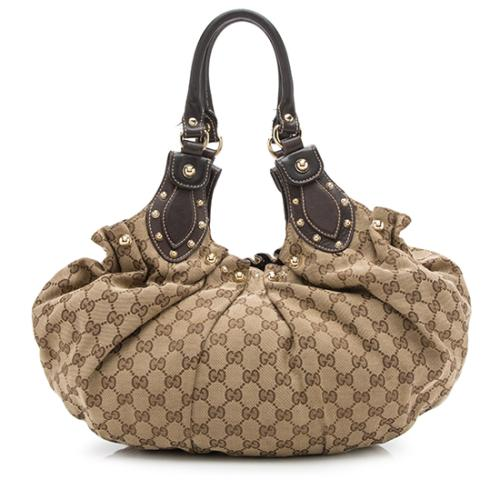 Gucci GG Canvas Studded Pelham Small Shoulder Bag