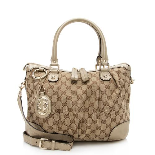 Gucci GG Canvas Sukey Top Handle Medium Satchel
