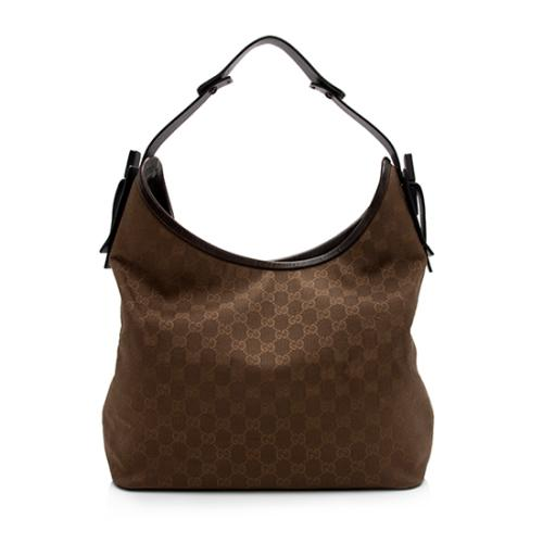 Gucci GG Canvas Wood Accent Shoulder Bag