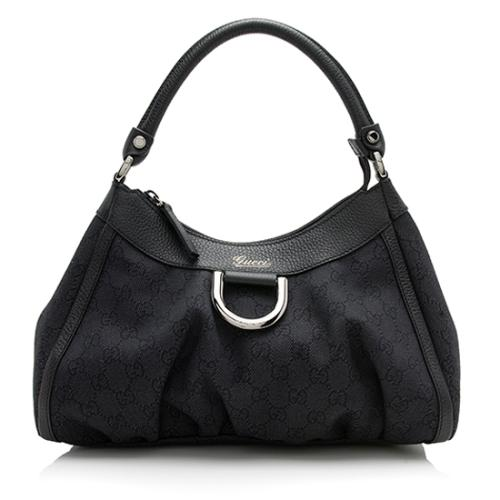 Gucci GG Denim Abbey D Ring Small Hobo