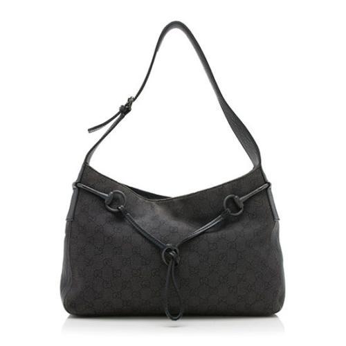 Gucci GG Denim Horsebit Shoulder Bag