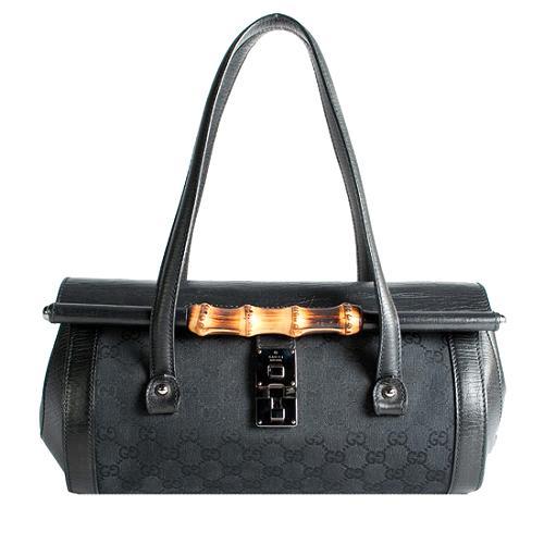 Gucci GG Fabric Bamboo Bullet Medium Satchel Handbag