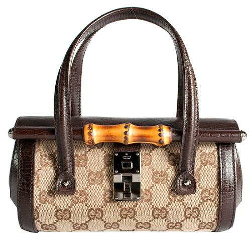 Gucci GG Fabric Bamboo Bullet Small Satchel Handbag