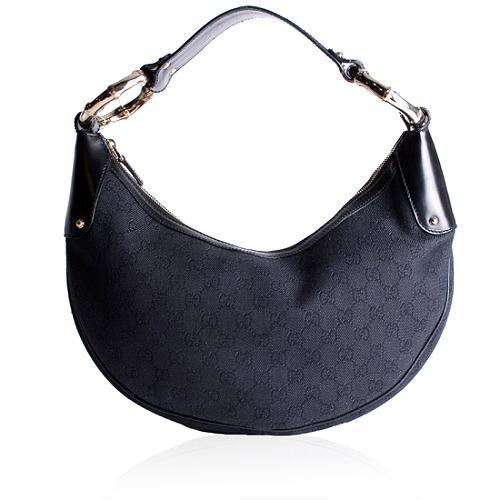 Gucci GG Fabric Bamboo Ring Medium Hobo Handbag