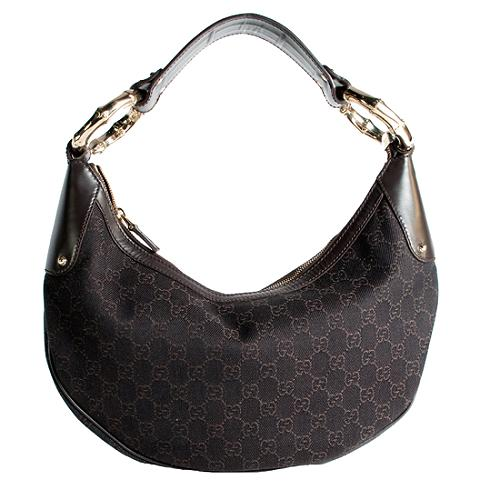 Gucci GG Fabric Bamboo Ring Medium Hobo Handbag