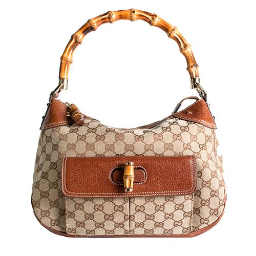 Gucci GG Fabric Bamboo Top Handle Handbag