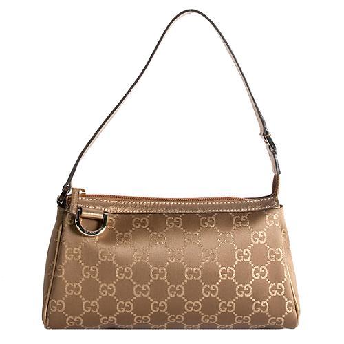 Gucci GG Fabric D Gold Pochette Shoulder Handbag