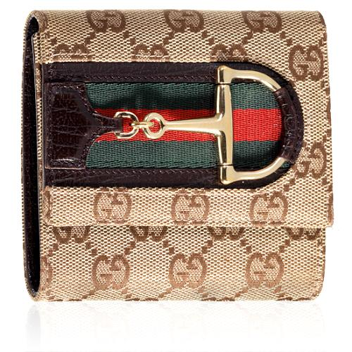 Gucci GG Fabric Hasler Compact Wallet