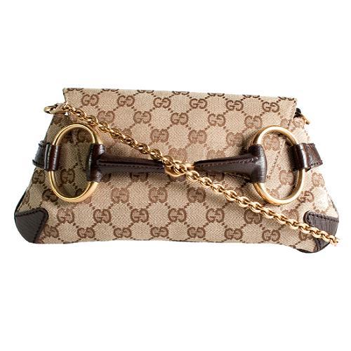 Gucci GG Fabric Horsebit Flap Clutch