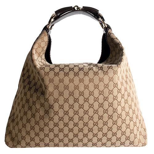 Gucci GG Fabric Horsebit Large Hobo Handbag