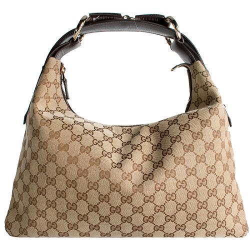 Gucci GG Fabric Horsebit Medium Hobo Handbag