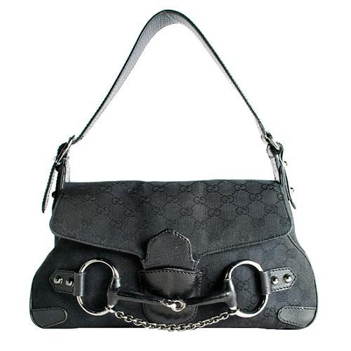 Gucci GG Fabric Horsebit Shoulder Handbag