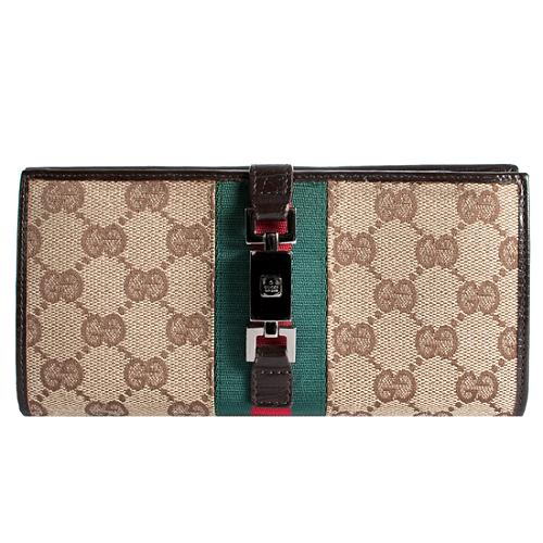 Gucci GG Fabric Web Continental Wallet