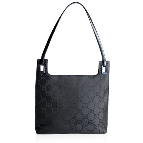 Gucci GG Nylon Binoche Medium Shoulder Handbag
