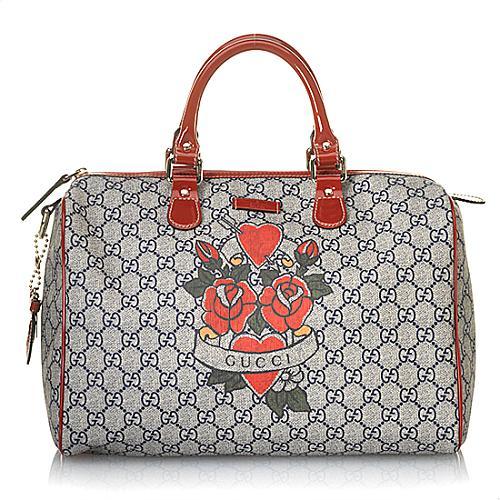 Gucci GG Plus Tattoo Hearts and Roses Medium Joy Boston Satchel Handbag