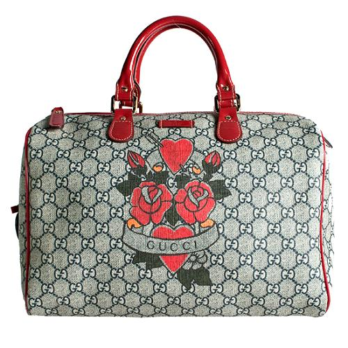 gucci gg plus tattoo hearts and roses medium joy boston satchel