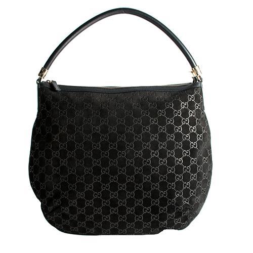 Gucci GG Suede Hobo Handbag