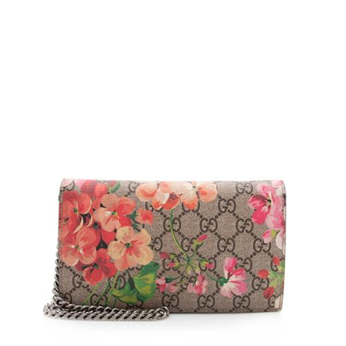Gucci GG Supreme Blooms Wallet on Chain Bag